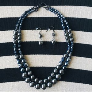 Jewelry - Hematite Beaded Necklace and Earring Set